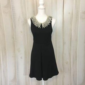 Free People Lace Collar Black Open Back Dress